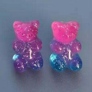 Jewelry - 🍭 3/$15 Pink & Blue Glitter Gummy Bear Studs New